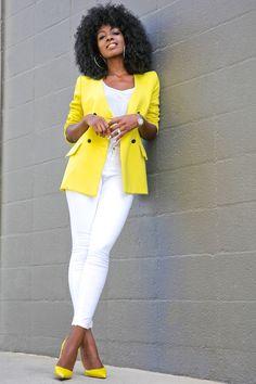Style Pantry | Vintage Yellow Blazer + White Tank + White Jeans