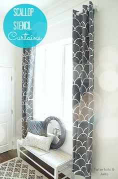 How to Stencil on Fabric using this simple technique and tutorial from Tatertots and Jello!! Make your own Scalloped curtains like these! #DIY #Fabric