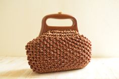 Vintage c. 1960's  Brown Woven Beaded Clutch | Made in Italy by GracedVestige on Etsy