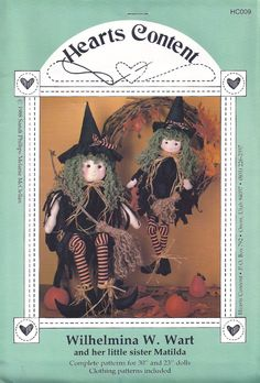 "WITCHES SEWING PATTERN - 30"" and 23"" DOLLS - ""Wilhelmina W. Wart and her little sister Matilda"" - at KrissesKorner on Etsy"