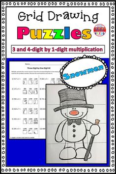 These grid drawings are a fun and creative way for your kids to practice their multiplication skills! Kids simply find the box that corresponds with the correct multiplication answer and transfer it into the square on the blank grid. Each page leads to a different picture of a snowman to color.  This set includes three pages of 3-digit by 1-digit practice, and three pages of 4-digit by 1-digit practice. Multiplication Grid, Multiplication Activities, Math Worksheets, Math Resources, 5th Grade Math, Second Grade, Kinesthetic Learning, Love Teacher, Classroom Fun