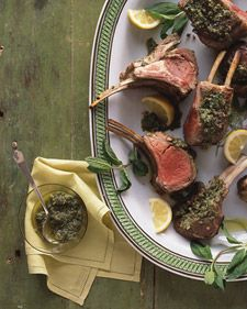 Garlic and lemon invigorate the familiar pairing of succulent  roasted rack of lamb and mint in an intense marinade  that infuses the meat overnight. The fresh herb then makes an encore in a sauce with capers that's slathered generously on the lamb and served on the side.