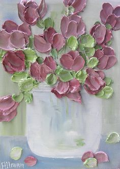 Rose Tulip Impasto Oil Painting Oil Painting by KenziesCottage, $45.00