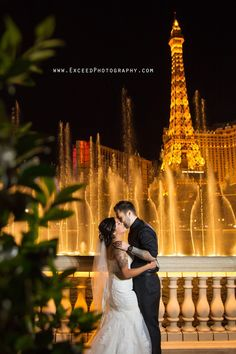 www.ExceedPhotography.com Las Vegas elopements, Las Vegas Wedding Photos, bellagio Fountains