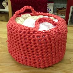 Sandras Hooked Zpagetti Stash Basket. Made with less than a ball of yarn. by ethel and edna, via Flickr