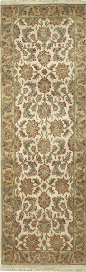 HANDMADE RECTANGULAR INDIAN JAIPUR RUNNER AREA RUG IN IVORY WITH OLIVE ACCENTS, 2X10 Handmade and knotted rectangular runner area rug with leaf and floral designs in ivory with olive accents, 2x10. Imported from India with wool. Free Shipping within the US.