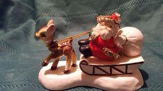 Vintage Ceramic Spaghetti Santa on Sled with Reindeer Christmas Figurine Japan