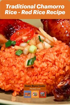 The aroma and flavor of Guam's Chamorro or CHamoru red rice is incredible. Garlic and achote or annatto are the perfect pair for rice recipes. Red Rice Recipe Guam, Chamorro Red Rice Recipe, Chamorro Recipes, Chamorro Food, Guam Recipes, Diner Recipes, Filipino Recipes, Guamanian Red Rice Recipe, Bbq Menu