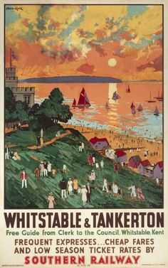 Whitstable and Tankerton vintage Southern Railway poster Posters Uk, Train Posters, Railway Posters, Poster Prints, British Travel, British Seaside, Vintage Travel Posters, Vintage Ads, National Railway Museum