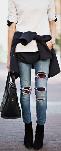 hmm, I actually am loving the idea of wearing a bright/patterned tight under ripped jeans!