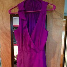 Forever 21 Fuschia mini dress Fuschia mini dress, ruffle v-neck, belt around waist. Forever 21 Dresses Mini