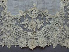 A Victorian Fine Lawn Handkerchief with Brussels Point de Gaze Lace Edging | eBay