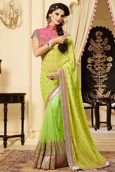 Fabulous Green Color Wedding Wear Saree Only RS. 6285