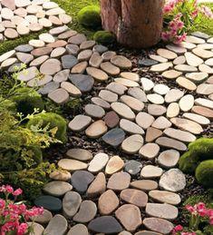 Set of 4 Stone Garden Border Path Mats Each mat measures 12L x 4