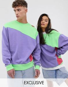 Shop COLLUSION Unisex colour blocked sweat in green at ASOS. Urban Outfits, New Outfits, Fashion Outfits, Unisex Fashion, Pop Fashion, Colour Blocking Fashion, Mens Sweatshirts, Hoodies, University Outfit