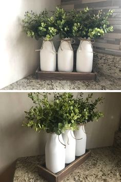 Have you got milk bottles in your farmhouse or rustic themed decor?? Milk bottles are a must and are so adorable!! They are hand painted for a chalky textured finish, adorned with a twine bow accent, and set off with some beautiful greenery or your favorite kind of flowers. #ad #rustic #farmhouse #milkbottle #centerpiece #tabledecor #homedecor #flowervase #jar #woodtray