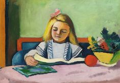August Macke (1887-1914) - Blondes Mädchen mit Buch | Blonde Girl With Book (1912)