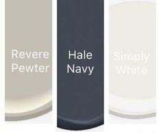 tiles Farmhouse 16 Ideas For Exterior Paint Benjamin Moore Hale Navy House Paint Exterior, Exterior Paint Colors, Exterior House Colors, Exterior Design, Revere Pewter, Bedroom Paint Colors, Paint Colors For Home, Paint Colours, Navy Master Bedroom