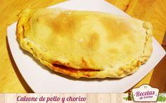 Calzone de pollo y chorizo -  Si hay algo que me encanta y son de interés mundial en la gastronomía italiana son las pizzas y los calzones. Los calzones no son más que pizzas envueltas para comerlas con las mismas manos, de hecho, en localidades italinanas exiten puestos de comida rápida con estos calzones. Además, son muy v... - http://www.lasrecetascocina.com/calzone-de-pollo-y-chorizo/