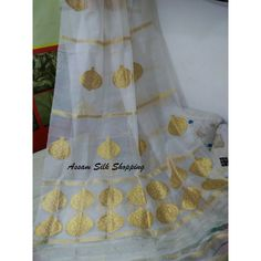 Assam Raw silk Mekhela Chadar with golden Motif