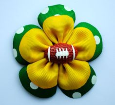 Football Flower Hair Clip Green and Gold Green by BelleandRoseBows
