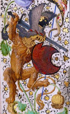 lion knight  'Gillion de Trazegnies', Flanders after 1464 (LA, The J. Paul Getty Museum, Ms. 111, fol. 36v)