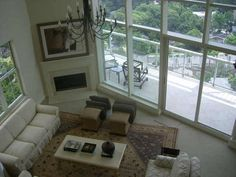 2 story living room .. Peachtree rd penthouse with private interior elevator ..