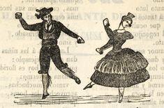 Xilografía en cabecera de un hombre y una mujer, ambos bailando y tocando las castañuelas.