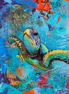 Ocean Traveler - Original Green Sea Turtle PRINT - By Corina St. Martin