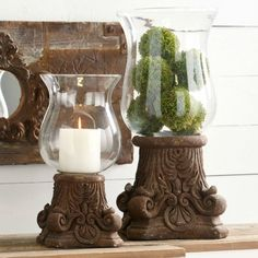 Rustic Column Pedestal With Hurricane Glass Farmhouse Style Decorating, Farmhouse Decor, Candle Stand, Candle Holders, Lantern Centerpieces, Lanterns, Tin Walls, Antique Farmhouse, Hurricane Glass