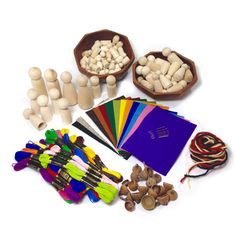 A cornucopia of natural supplies for making wood peg dolls inspired by Margaret Bloom's book Making Peg Dolls.   A Child's Dream
