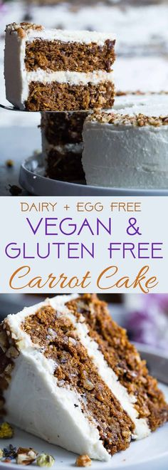 The BEST Gluten Free Vegan Carrot Cake - This one bowl healthy carrot cake is SO moist and tender you'll never know it's plant based made without eggs and is gluten/grain/dairy/refined sugar free! Gluten Free Carrot Cake, Healthy Carrot Cakes, Gluten Free Cakes, Sugar Free Carrot Cake, Gluten Free Sugar Free Cake Recipe, Easter Cake Gluten Free, Easter Cake Healthy, Dairy Free Egg Free Cake, Dairy Free Icing