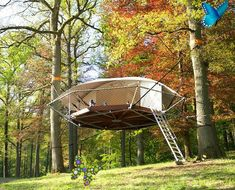 Suspended Dom'Up tree tents look like flying saucers in the forest Lightweight DOM'UP treehouse tent can stay up for decades without harming the trees | Inhabitat - Sustainable Design Innovation, Eco Architecture, Green Building<br> The suspension-style cabin called Dom'Up is a lightweight tree shelter that leaves no trace or impact on its surroundings.