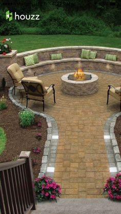 Beautiful backyard fire pit and sitting area-- Houzz