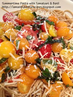 Passionately Artistic: Pasta with cherry tomatoes and basil Paleo Recipes, New Recipes, Dinner Recipes, Cooking Recipes, Favorite Recipes, What's Cooking, Recipies, Cherry Tomato Pasta, Tomato Basil Pasta