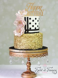 https://flic.kr/p/GX3kpy | Virginia | Happy Birthday Virginia!! This cake was made for a very special person, my daughter. The years have gone too fast! Kate Spade inspired birthday cake. Top tier cake was iced with buttercream. Bottom tier was layered with fondant and given a texture to resemble sequins. Decoration were created using fondant/gumpaste. Chocolate cake with bavarian filling and chocolate buttercream and cherry cake with vanilla buttercream.