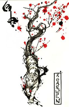 Asian theme Tree Tattoo design