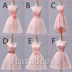 Vintage Prom Dress Bridesmaid Light Pink Knee-length A-line Open Back Bridesmaid Dresses With Lace And Bow