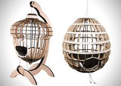A laser cut and easy to assemble cat bed can be suspended for your furry feline to cozy up in.