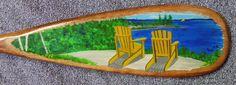"Muskoka Chairs hand painted onto 36"" canoe paddle  www.aframestudios.ca Canoe, Paddle, Chairs, Hand Painted, Painting, Art, Art Background, Painting Art, Kunst"