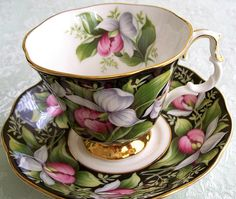 Royal Albert 'Lady Slipper' from Provincial Flowers Series teacup and saucer (this set features flowers from Canada)