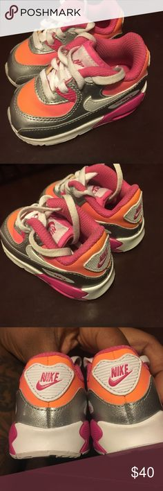 Baby Nike Air Max Size 4 Pink Orange and Silver Nike Ait Max wore ONCE Nike Shoes Baby & Walker