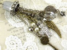Repurposed Vintage Necklace Assemblage Thimble Rhinestone Numbered Brass Tag Religious Medals Charms Mixed Metal