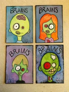 Cute craft project for zombie bookclub Wee Zombie Watercolor paintings, ATC size - MORE ART, LESS CRAFT