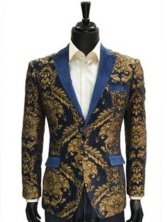 Angelino Mens Blue Gold Leaf Royalty Velvet Lapel Trending  Formal Jacket Blazer #Angelino #TwoButton
