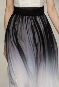 Beautifully flowing black ombre skirt with gathered waist - ethereal dress; sheer fashion details // PPQ Fall 2012