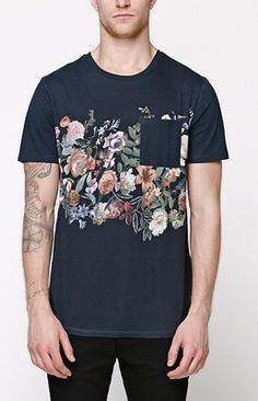 Tustin Floral Stripe Pocket T-Shirt