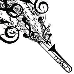 trombone tattoo designs   Vector Silhouette of Trombone with Musical Symbols