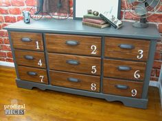 Vintage Industrial Dresser with Iron Bin Pulls by Prodigal Pieces | www.prodigalpieces.com