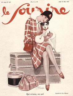 Le Sourire France Luggage by The Advertising Archives Illustration Art Nouveau, Magazine Illustration, Red Clutch, Clutch Bag, Fine Art Prints, Canvas Prints, French Magazine, Moda Vintage, Art Deco Era